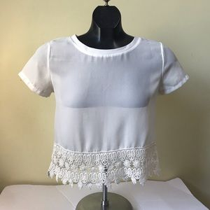 Boohoo New Off White Lace Trim Crop Top Blouse Tee